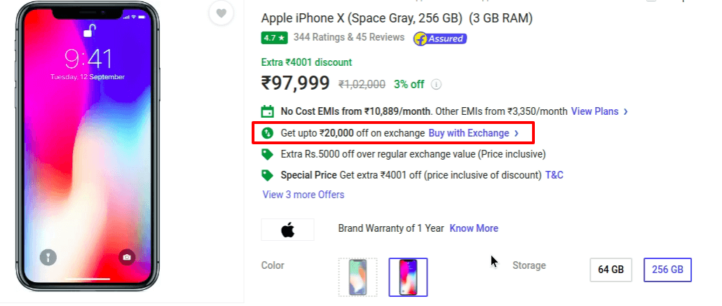 Exchange Offers for 256 GB version