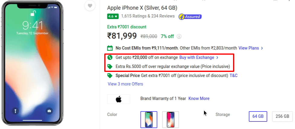 Exchange Offers for 64 GB version