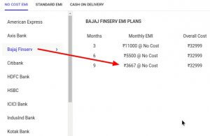 Bajaj Finance EMI PLANS forMi Mix 2