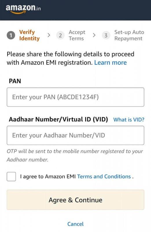 Amazon Pay EMI- Registration Steps