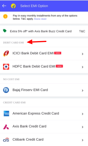 TV Debit Card EMI bank options