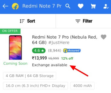 Xiaomi Redmi Note 7 Pro Exchange Offer