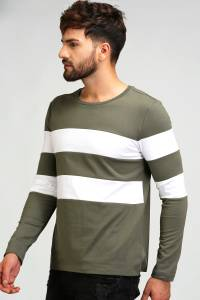 Aelo Striped Men's Round Neck Light Green, White T-Shirt